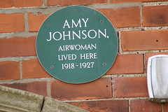Photo of Amy Johnson green plaque