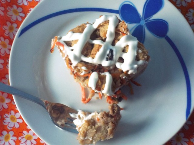 Slice of Carrot Cake Capirotada with Cream Cheese Glaze 2