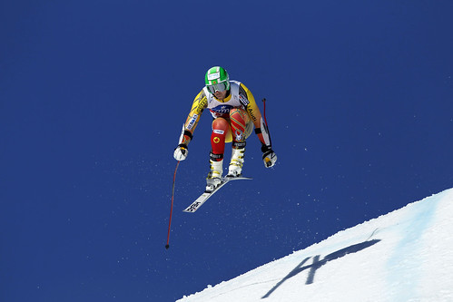 Dustin Cook in action in the Crans-Montana, Switzerland super-G.