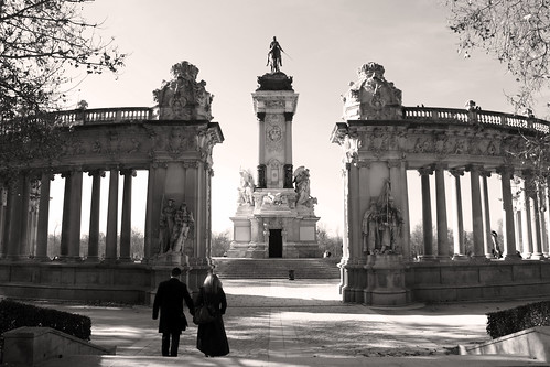 At the monument to Alfonso XII b&w