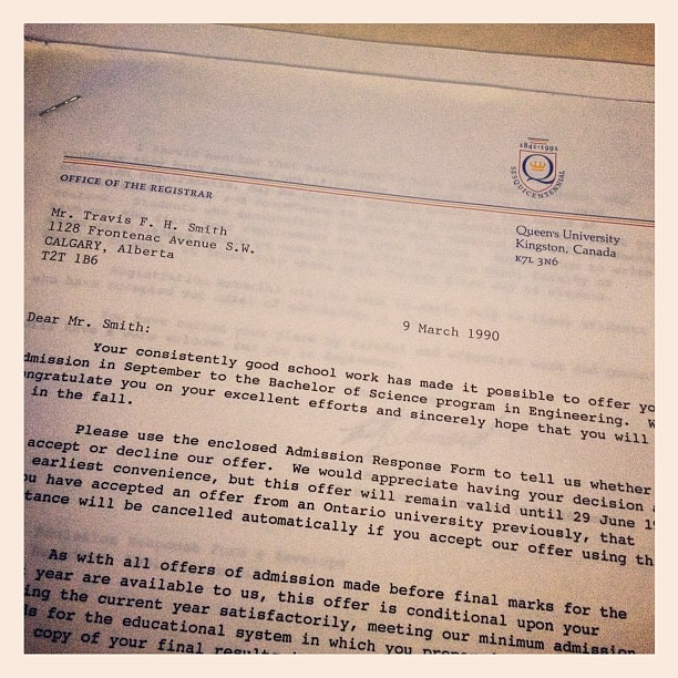 My Acceptance Letter From Queens University The