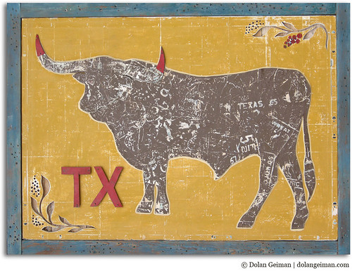 TX Longhorn (2012) mixed media artwork by Dolan Geiman
