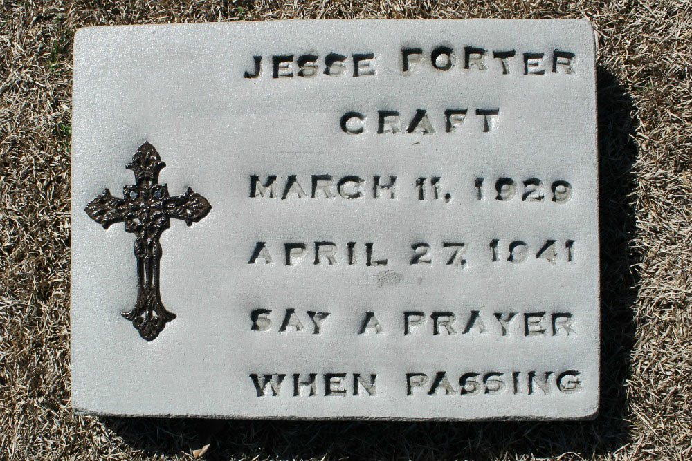 Jesse Porter Craft Headstone
