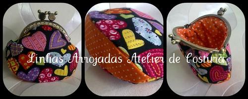 Porta moedas preto com fundo laranja by ♥Linhas Arrojadas Atelier de costura♥Sonyaxana