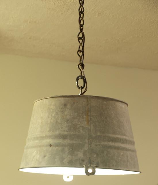 Funky Rustic Galvanized Pendant Light Via Etsy: Upcycled Vintage Galvanized Bucket Light