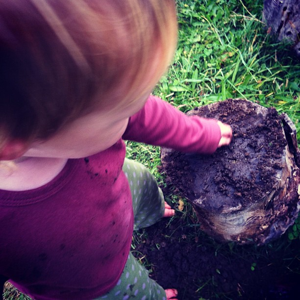 Loving the mud #mudpies #owlets #play #mud