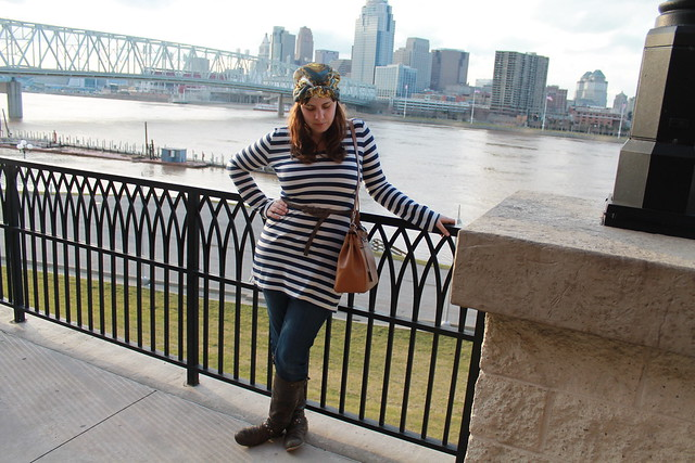 Nautical turbin outfit: leather boots, straight-leg Gap jeans, striped Converse tunic, braided leather belt, Kelly bag, silk scarf worn as turbin