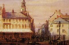 Montréal, vers 1848. Rue Notre-Dame >Est, depuis la Place d'Armes.