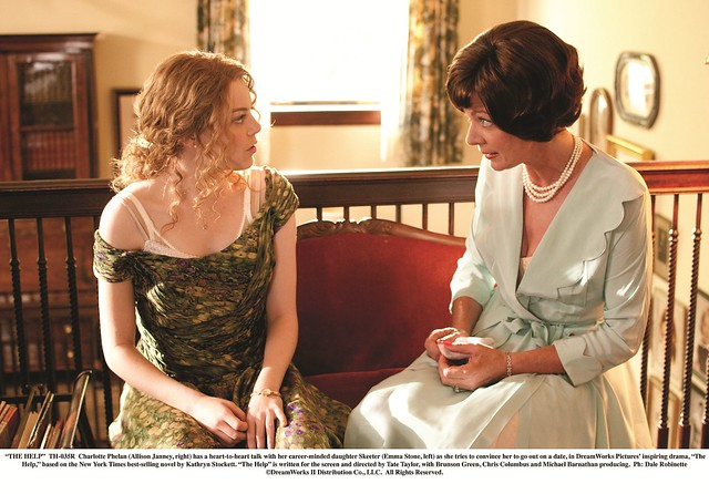 """THE HELP""..TH-035R..Charlotte Phelan (Allison Janney, right) has a heart-to-heart talk with her career-minded daughter Skeeter (Emma Stone, left) as she tries to convince her to go out on a date, in DreamWorks PicturesÕ inspiring drama, ÒThe Help,Ó based"
