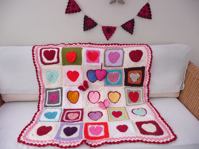I love the colours of these Heart Squares!