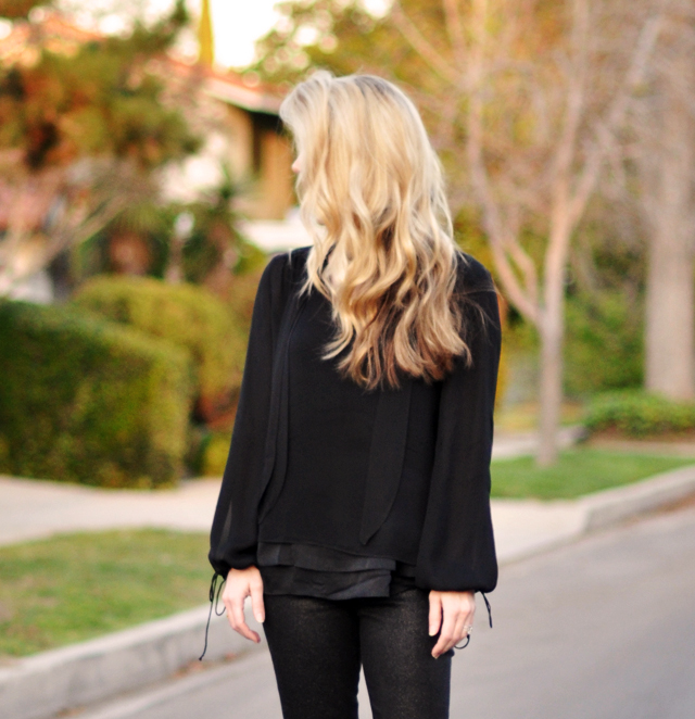 hair -black layered  blouses-black jeans