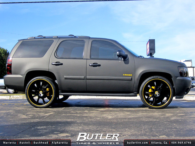 Chevy Tahoe with 26in Lexani LX9 Wheels Flat Black Wrap