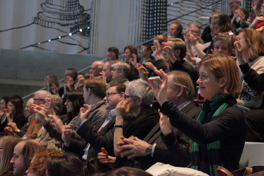 The audience responding to choreographer William Forsythe in the Abby and Howard Milstein Auditorium.