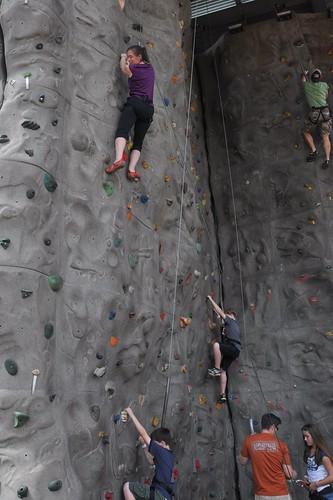 Julie on the rock wall