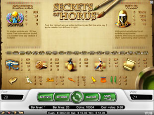 free Secrets of Horus slot payout