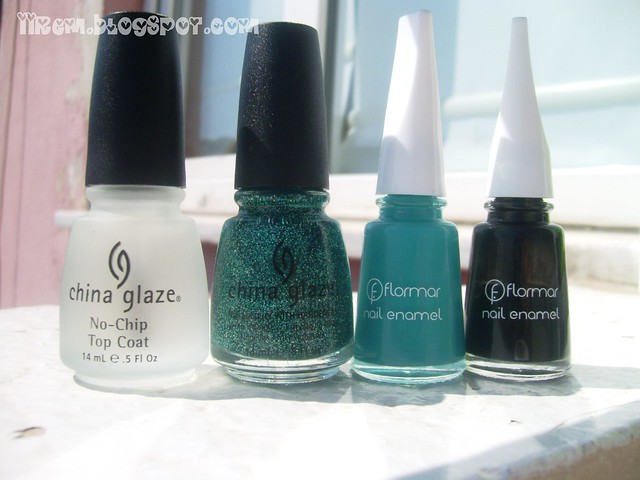 Soldan Sağa ; China Glaze No chip Top Coat - Atlantis , Flormar 429 -313 (1)