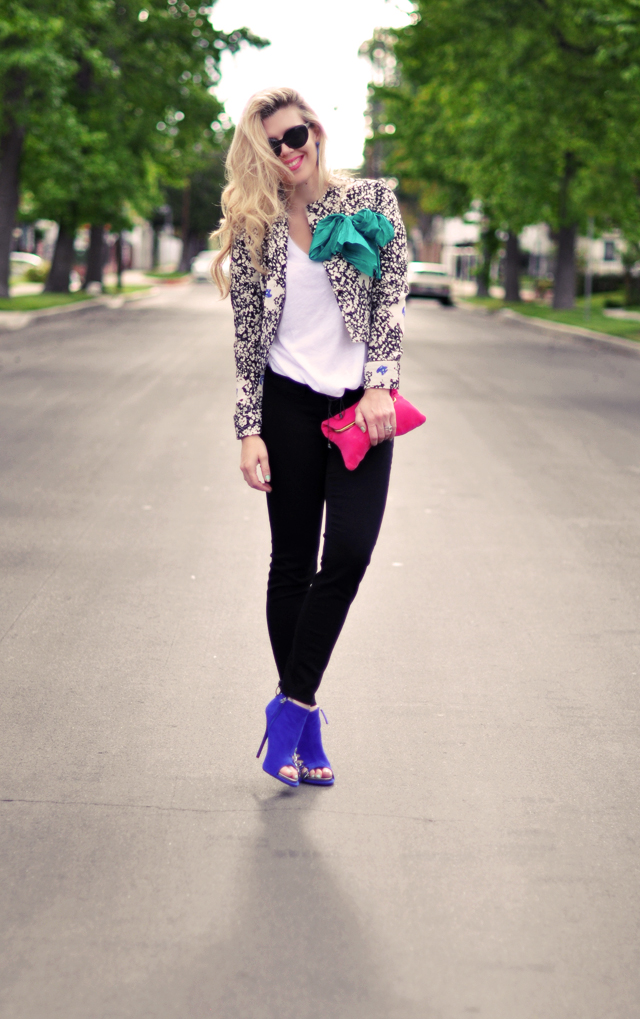 printed floral jacket - jeans and tee-bright accessories