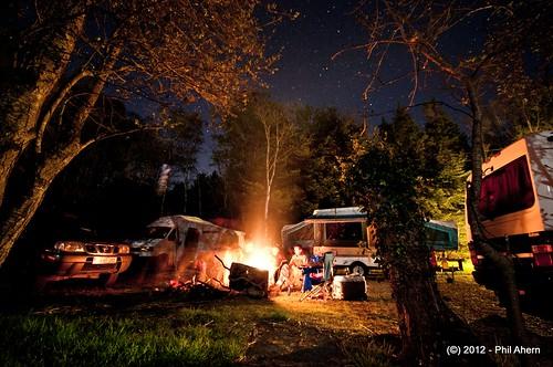 camping ireland stars landscape fire mountshannon
