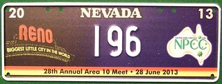 NPCC 2013 ---SOUVENIR LICENSE PLATE , RENO MEET