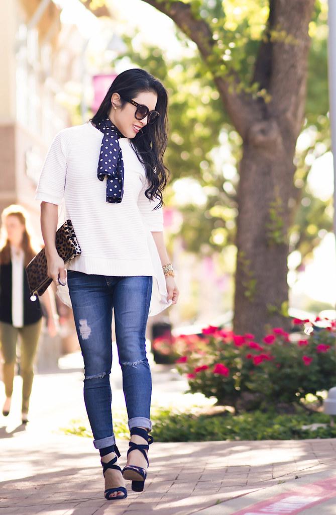 4306ae2c2edcb cute & little blog   petite fashion   silk neck scarf, white peplum blouse,