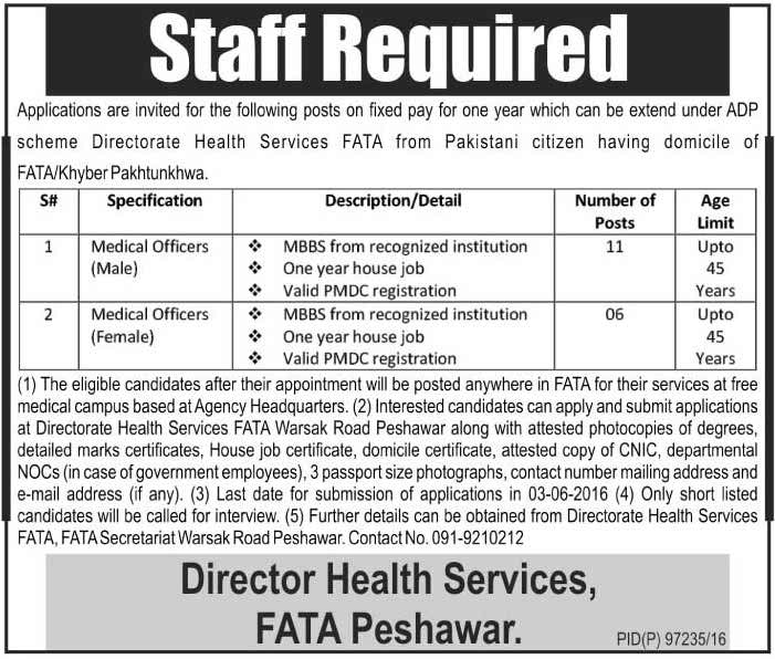 Director Health Services FATA Peshawar Jobs 2016