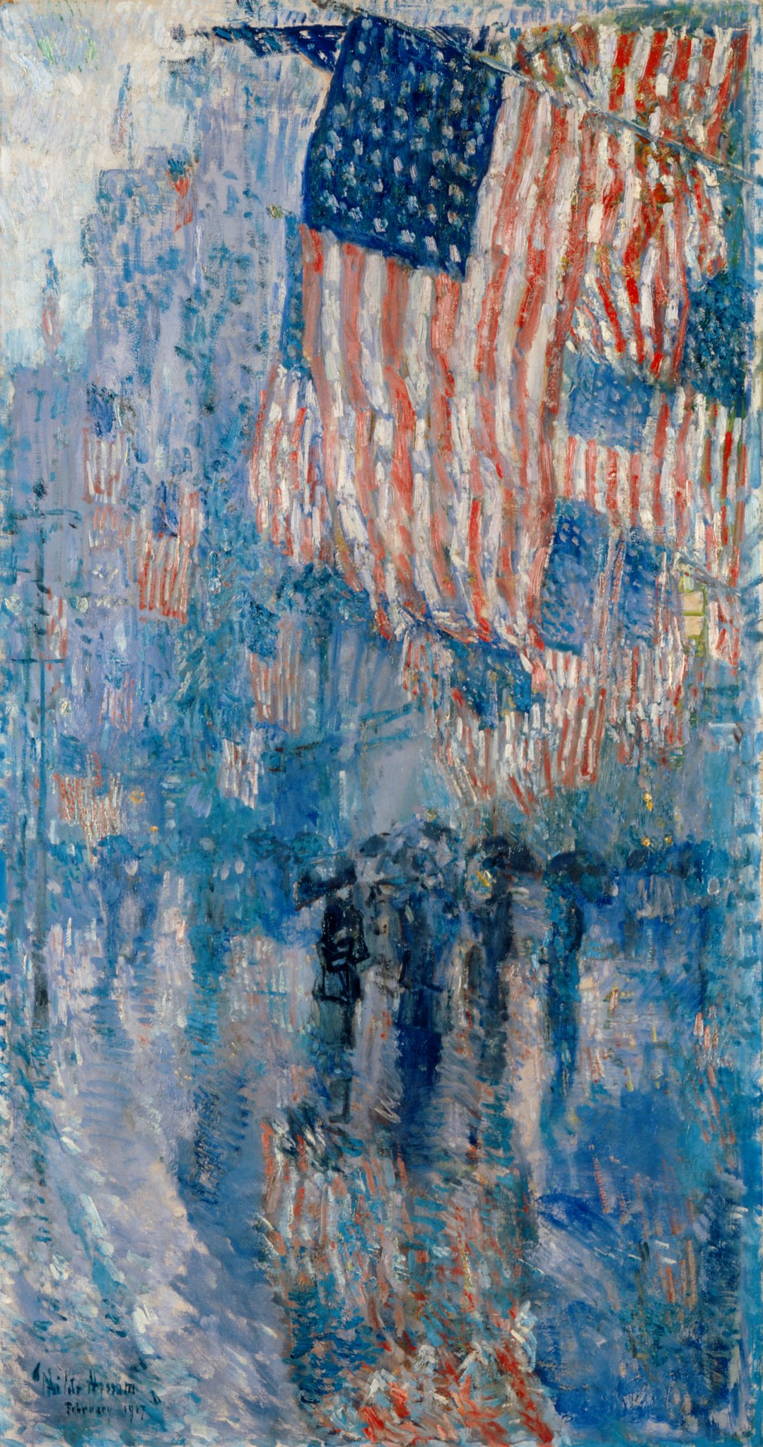 The Avenue in the Rain bu Childe Hassam, 1917