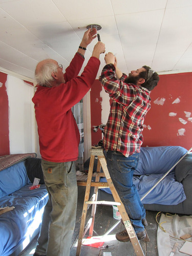 mike and richard wiring the ceiling fixture