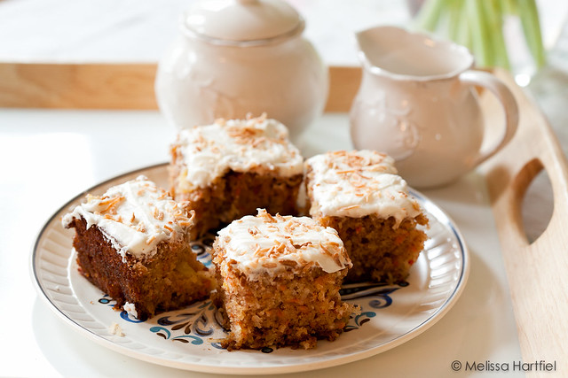 A plate of carrot cake