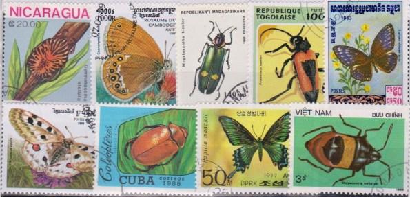 Známky - 25 rôznych, chrobáky a motýle
