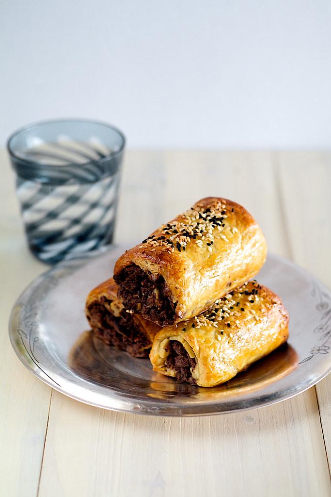 maqluba lamb sausage puff pastry roll
