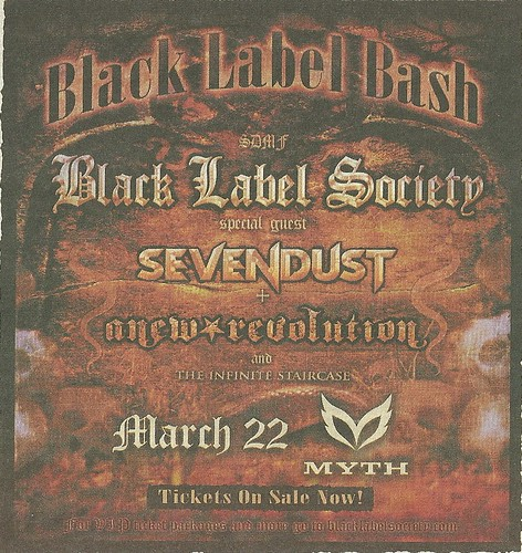 03/22/09 Black Label Society/Sevendust/A New Revolution @ Myth, Maplewood, MN