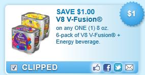 V8 V-fusion + Energy Beverage.  Coupon