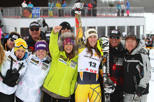 Marie-Michèle Gagnon celebrates her first World Cup podium with her team.