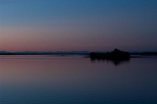 pink sky lake night island hartwell
