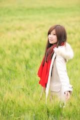 [フリー画像素材] 人物, 女性 - アジア, 人物 - 田園・農場, コート, 台湾人 ID:201203201800