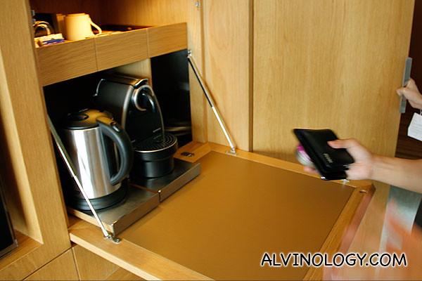 Hidden espresso and coffee machine