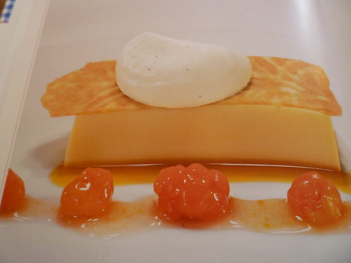 caramel custard with cloudberries
