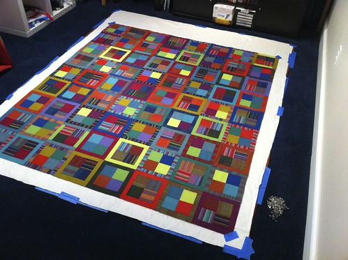 Chad's 30th Birthday Quilt Being Basted