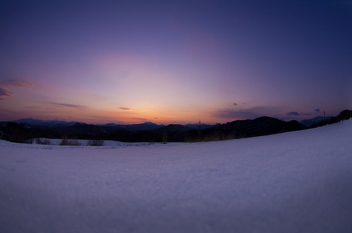 Sunset of the snowy field