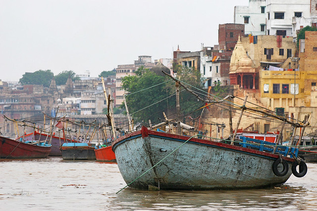 Boats on the Ganges river in Varanasi, India.