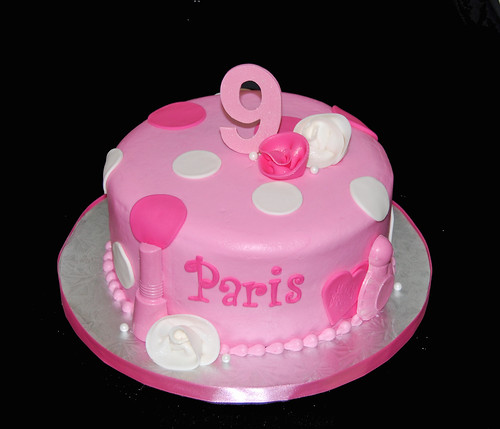 9th birthday pink polka dot girly cake for a spa party