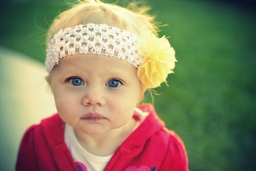 chiffon flower on crochet headband height=