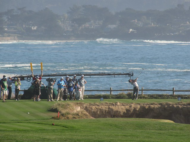 Dustin Johnson on 18th at The Links at Pebble Beach
