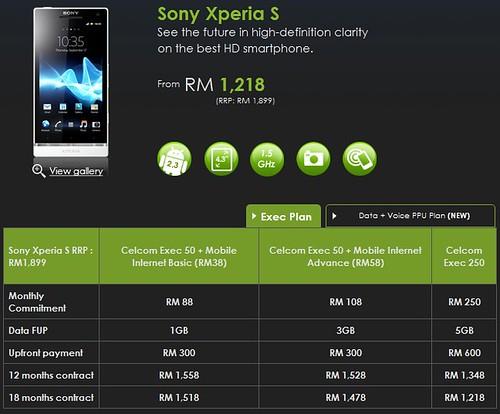 Sony Xperia S - Celcom Exec Plan