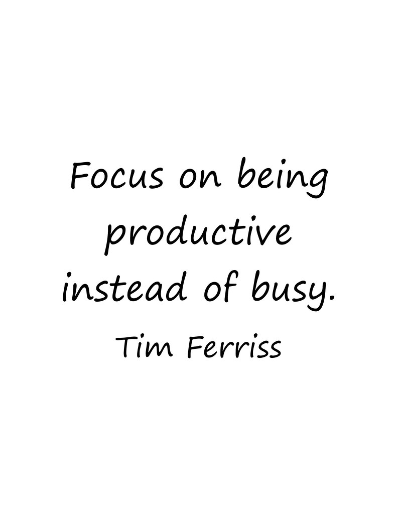 {seeds} Tim Ferriss ~ busy versus productive