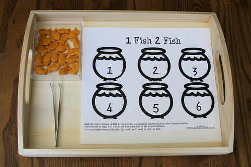 Montessori Inspired One Fish, Two Fish Counting Tray