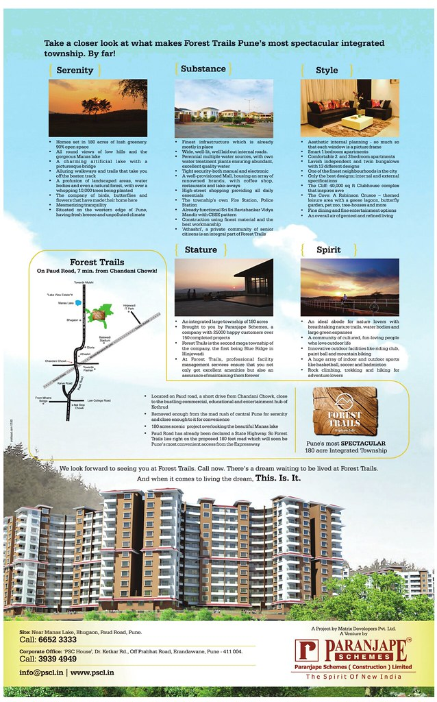 Launch Ad of Paranjape Schemes' Forest Trails 180 Acre Township at Bhugaon Pune 411 042 - 3