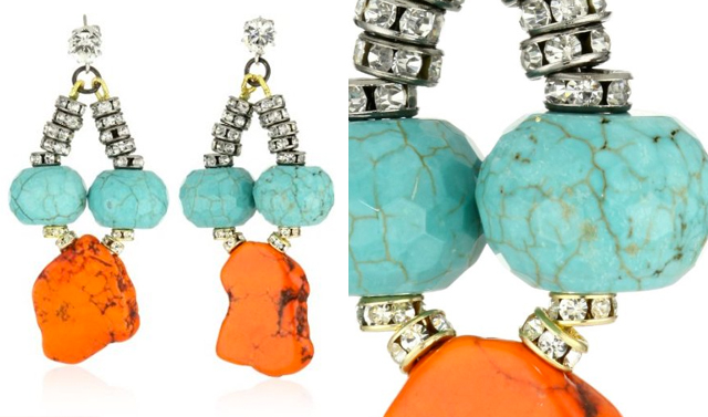 orange and turquoise drop earrings