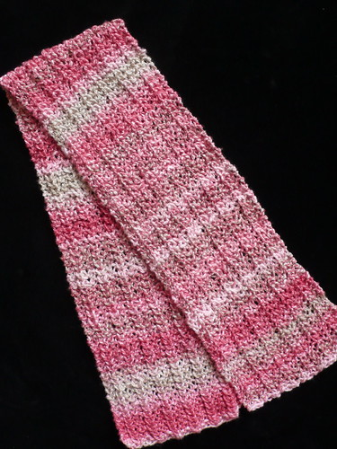 One-Row Handspun Scarf: Strawberries and Champagne