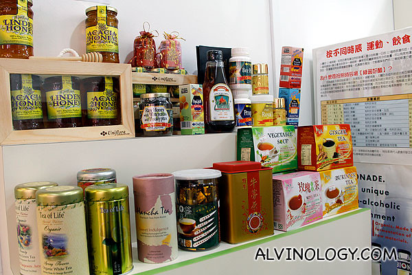 Assorted health and lifestyle products sold at Fuyogi Hut